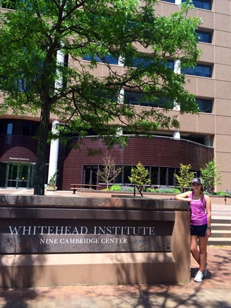 Elise in front of the Whitehead Institute where she worked all summer.